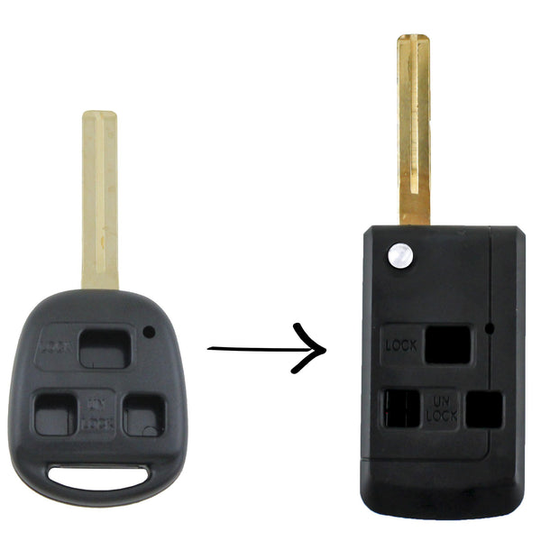 To Suit Lexus Remote Car Key 3 Button Flip Shell/Case/Enclosure IS200 GS300 RX300 LS400