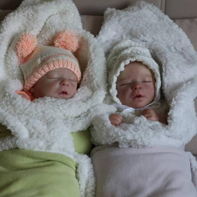 17.5'' Realistic Twin Brothers Little Reyna and Kyra Reborn Baby Doll Boy - Reborn Shoppe