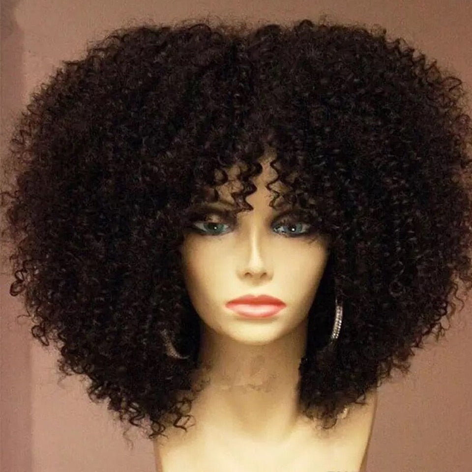 150% Density Mongolian Afro Kinky Curly Wig With Bang 13x6 Lace Front Human Hair Wigs Pre Plucked For Black Women Bleached Knots|Human Hair Lace Wigs