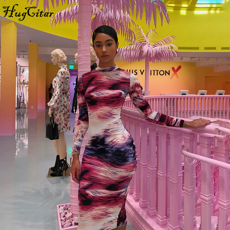 Hugcitar 2019 print tie dye long sleeve colorful sexy midi dress autumn winter women bodycon party streetwear outfits|Dresses
