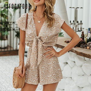 Affogatoo Sexy elegant bow sleeveless wide leg women rompers short jumpsuits casual loose bow tie playsuits leopard short romper|Rompers