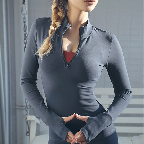Women's Yoga Zipper Long Sleeve shirt