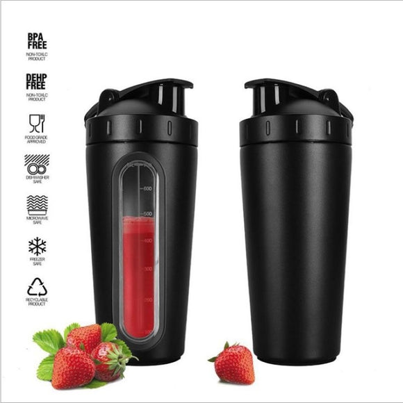700ml Stainless Steel Transparent Scale Shaking Cup