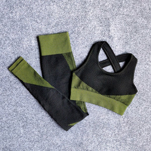 2 Pcs Set Sport Bra/Leggings/Coat Stretch