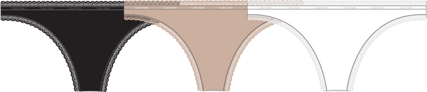 THONG 3PK, (F1Y BLACK/WHITE/HONEY ALMOND)