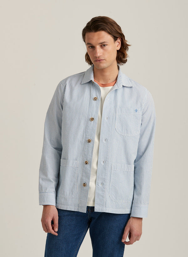 Seersucker Shirt Jacket (55 Light Blue)
