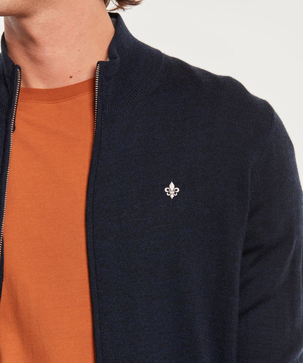 Merino Zip Cardigan (60 Navy)