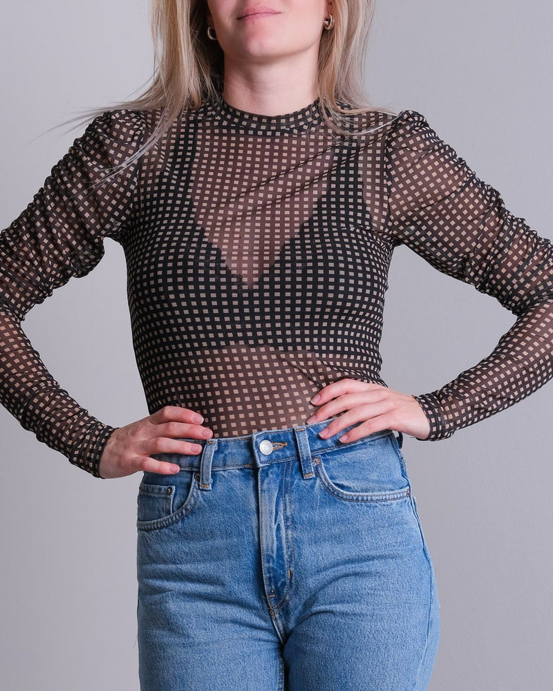 Ketter Square Mesh Blouse (100 Black)