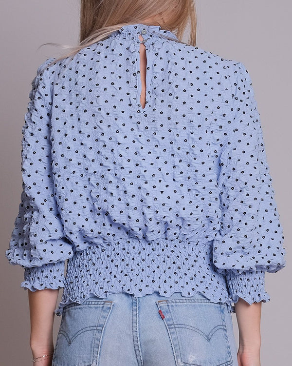 Dua Crepe Flower Blouse (110 Light Blue)