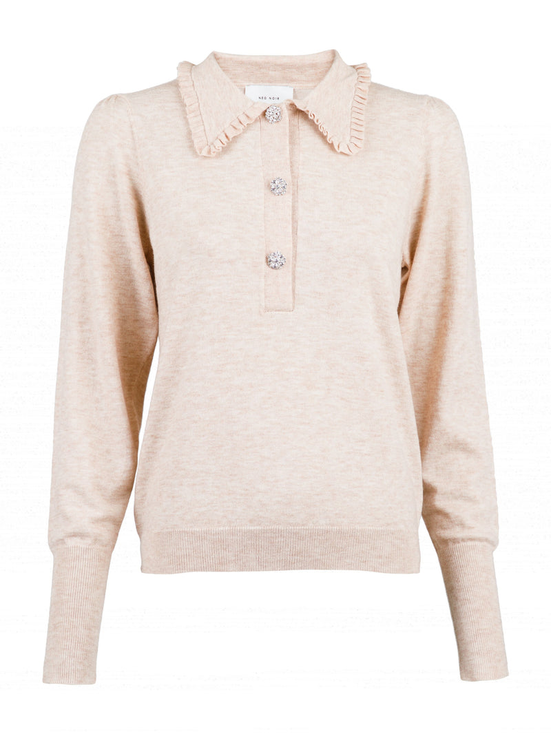 Gemma Diamond Knit Blouse (119 Sand Melange)