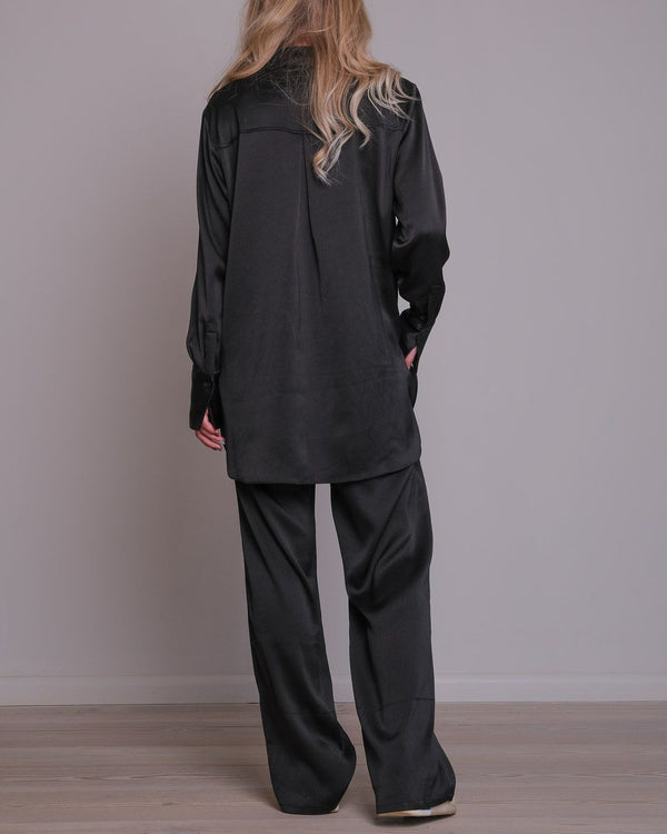 Margit Crepe Satin Shirt (100 Black)