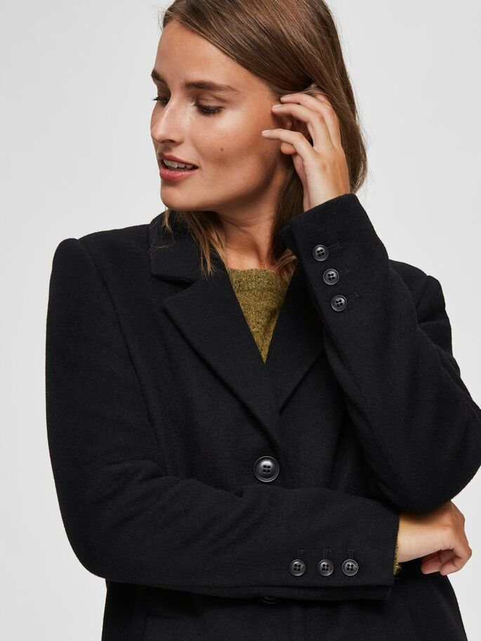 SLFSASJA WOOL COAT NOOS (BLACK)