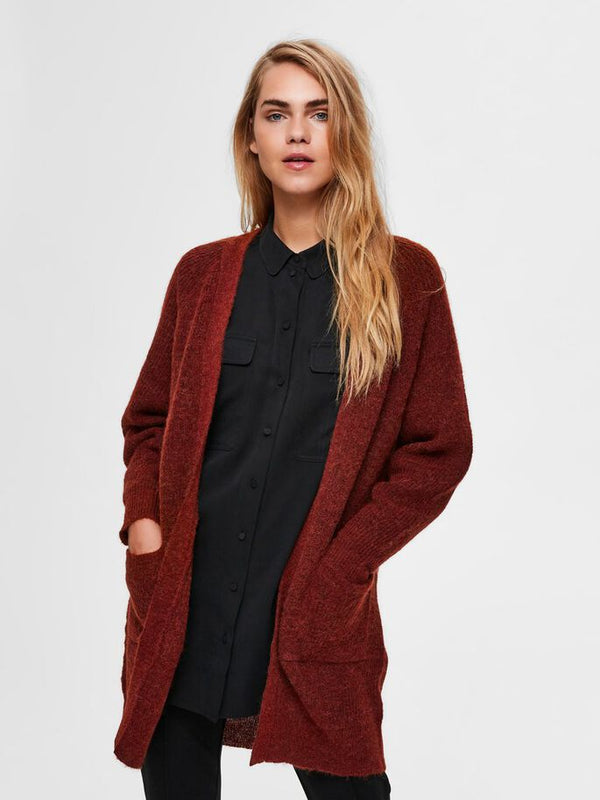 SLFLULU LS KNIT LONG CARDIGAN NOOS (Smoked Paprika) - D.O Design Only