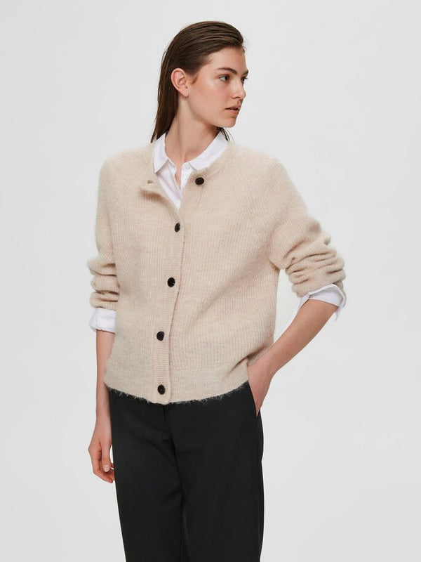 SLFLULU LS KNIT SHORT CARDIGAN NOOS (Birch) - D.O Design Only