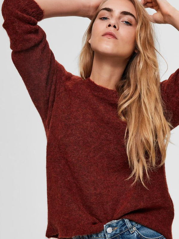 SLFLULU LS KNIT O-NECK  NOOS (Smoked Paprika) - D.O Design Only