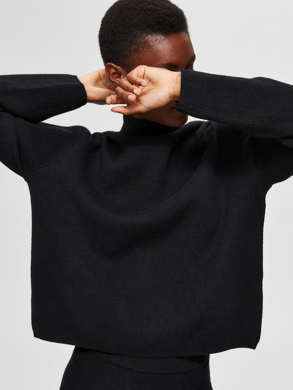 SLFCALI LS CROP KNIT HIGHNECK B (BLACK) - D.O Design Only
