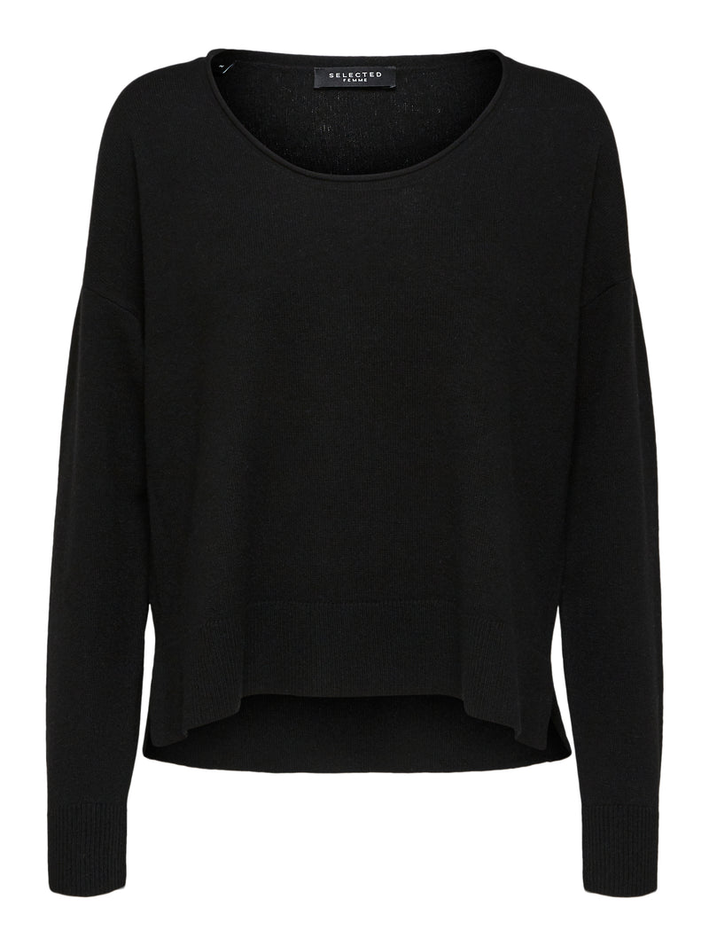 SLFKIA CASHMERE LS KNIT U-NECK NOOS B (BLACK) - D.O Design Only