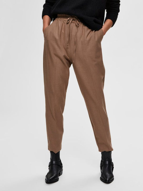 SLFJULIE MW COMFORT STRAIGHT PANT TE B (Tigers Eye) - D.O Design Only