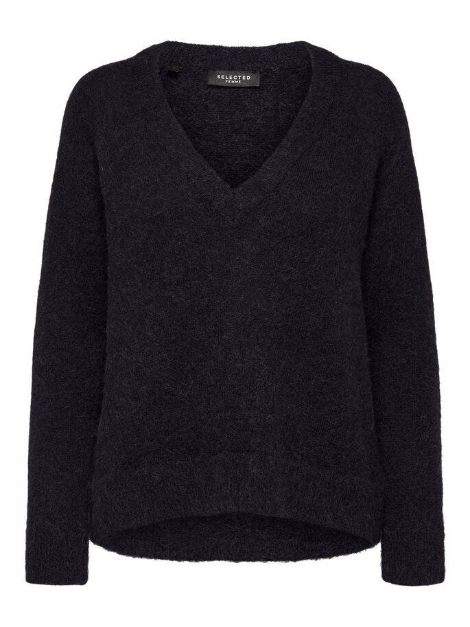 SLFLULU LS KNIT V-NECK NOOS (BLACK) - D.O Design Only