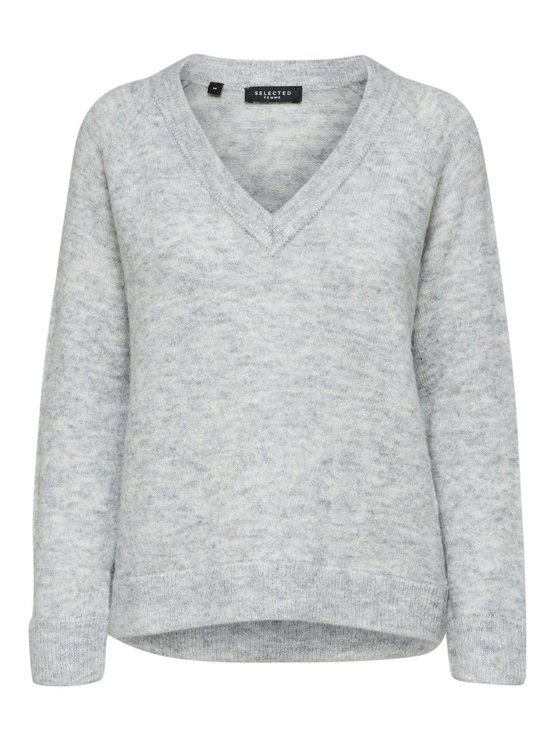 SLFLULU LS KNIT V-NECK NOOS (LIGHT GREY MELANGE) - D.O Design Only