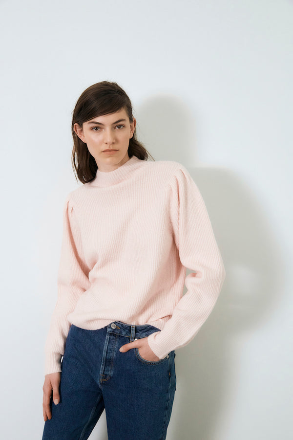 SLFLIPA LS KNIT T-NECK B (Blushing Bride)