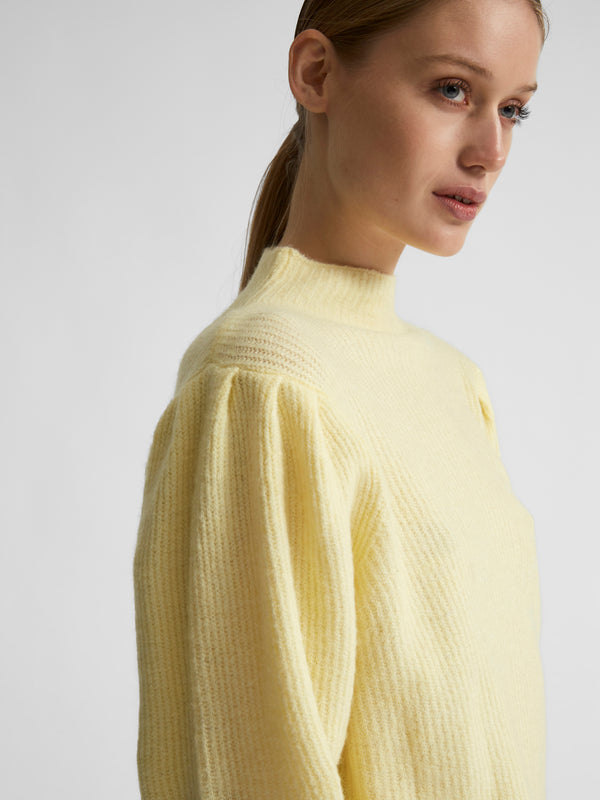 SLFLIPA LS KNIT T-NECK B (Pastel Yellow)