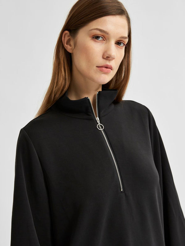 SLFTENNY LS ZIP DRESS EX (BLACK)