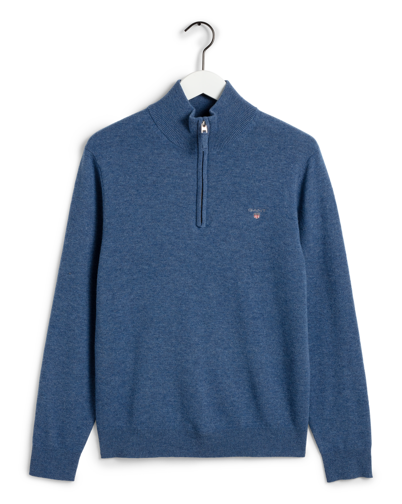 SUPERFINE LAMBSWOOL HALF ZIP (489 STONE BLUE MELANGE) - D.O Design Only