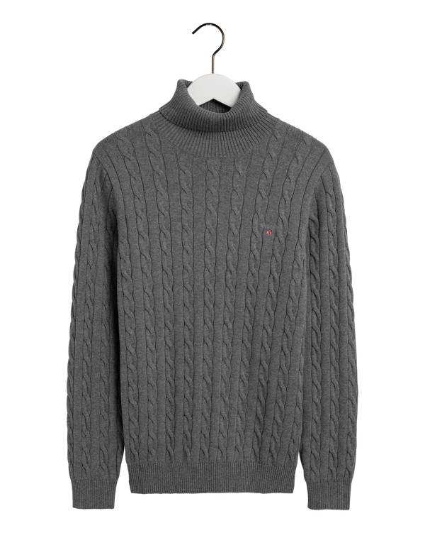 COTTON CABLE TURTLE NECK (92 DARK GREY MELANGE) - D.O Design Only