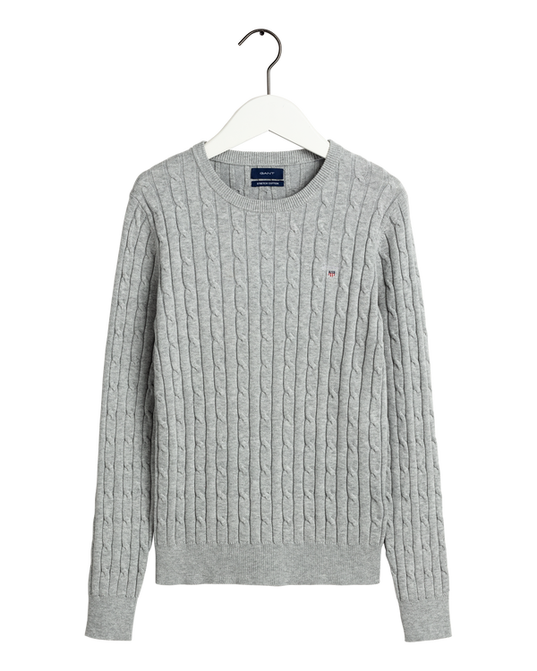 STRETCH COTTON CABLE CREW (94 LIGHT GREY MELANGE) - D.O Design Only
