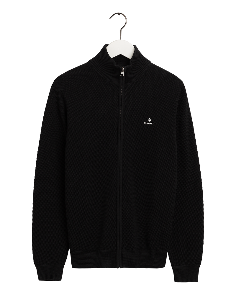 COTTON PIQUE ZIP CARDIGAN (5 BLACK) - D.O Design Only