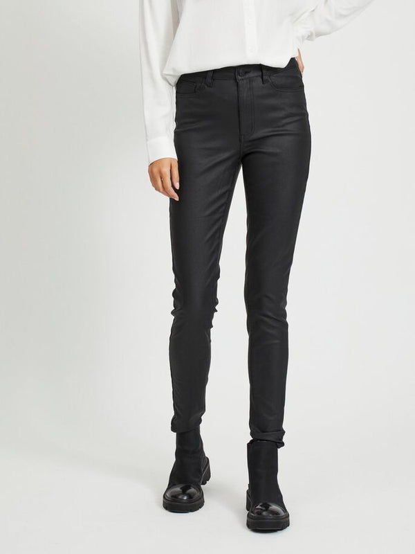 OBJBELLE MW COATED PANTS NOOS (BLACK)