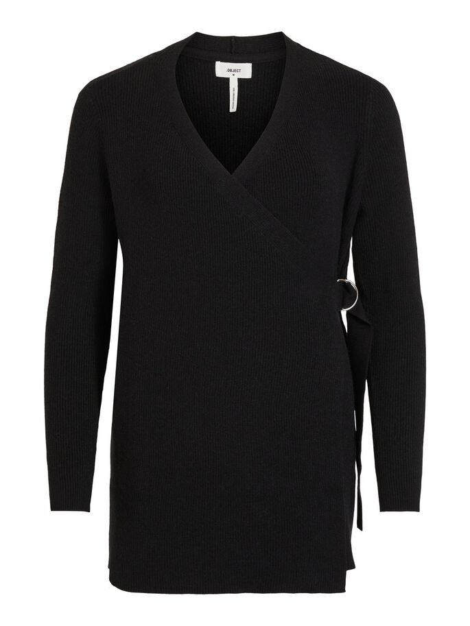 OBJFAE THESS L/S RIB KNIT CARDIGAN NOOS (BLACK) - D.O Design Only