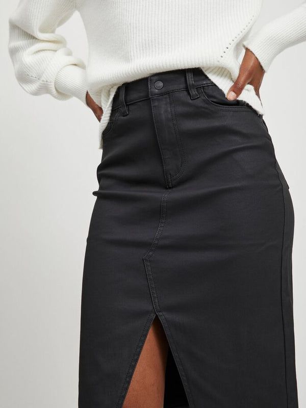OBJBELLE SUPERCOATED SLIT SKIRT PB8 (BLACK) - D.O. Design Only