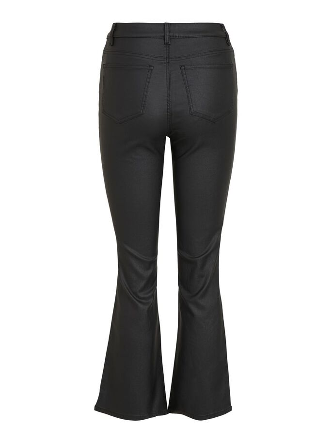 OBJBELLE MW 7/8 COATED FLARED PANT NOOS (BLACK)