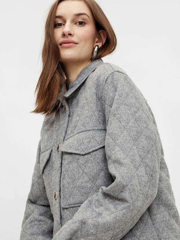 OBJVERA OWEN LONG QUILT JACKET NOOS (Medium Grey Melange)