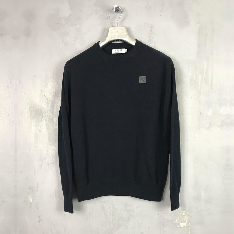 Plated Crewneck Sweater (NAVY)