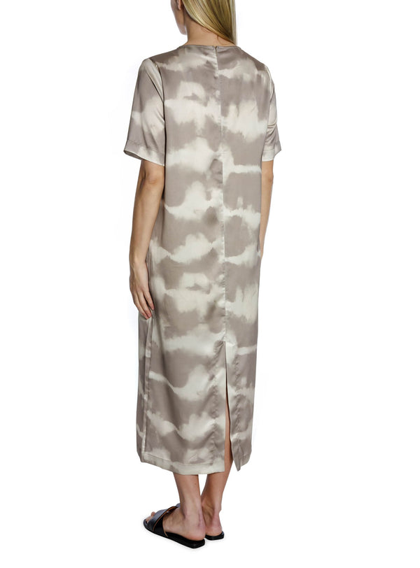 Larri Satin Tie Dye Dress (213 Sand)