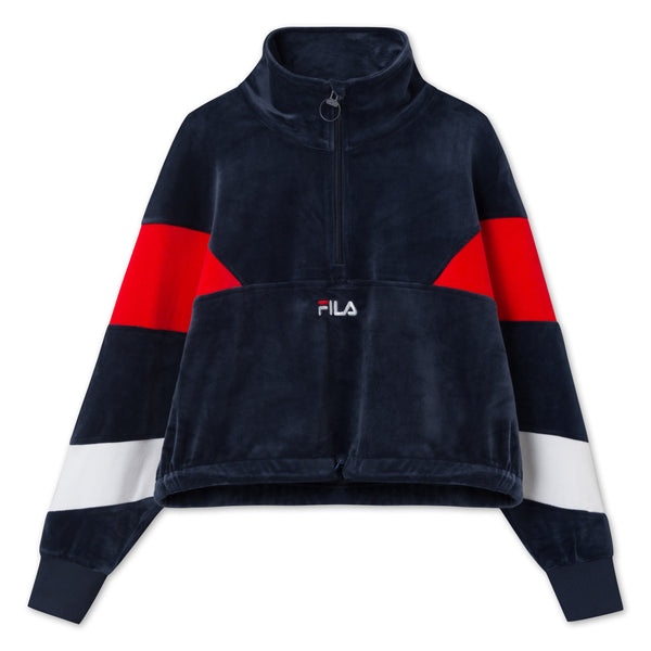 WOMEN BELLINI cropped velvet half zip (G06 black iris-true red-bright white) - D.O Design Only