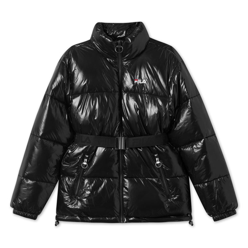 WOMEN AVVENTURA puffed jacket with belt (002 Black) - D.O Design Only