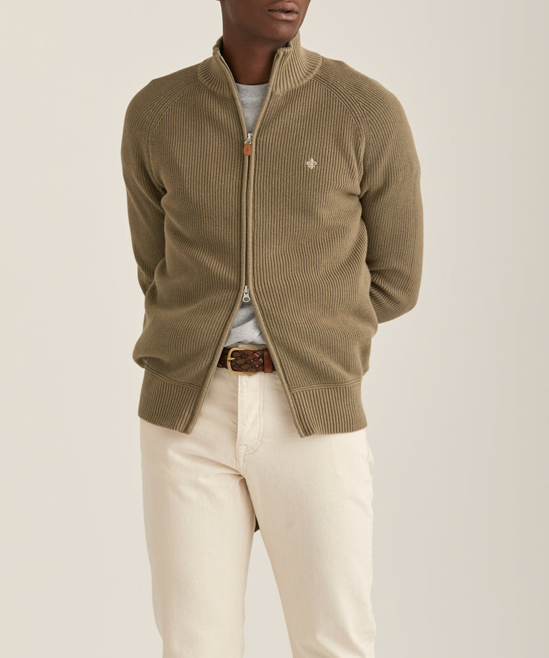 Watts Zip Cardigan (76 Olive)