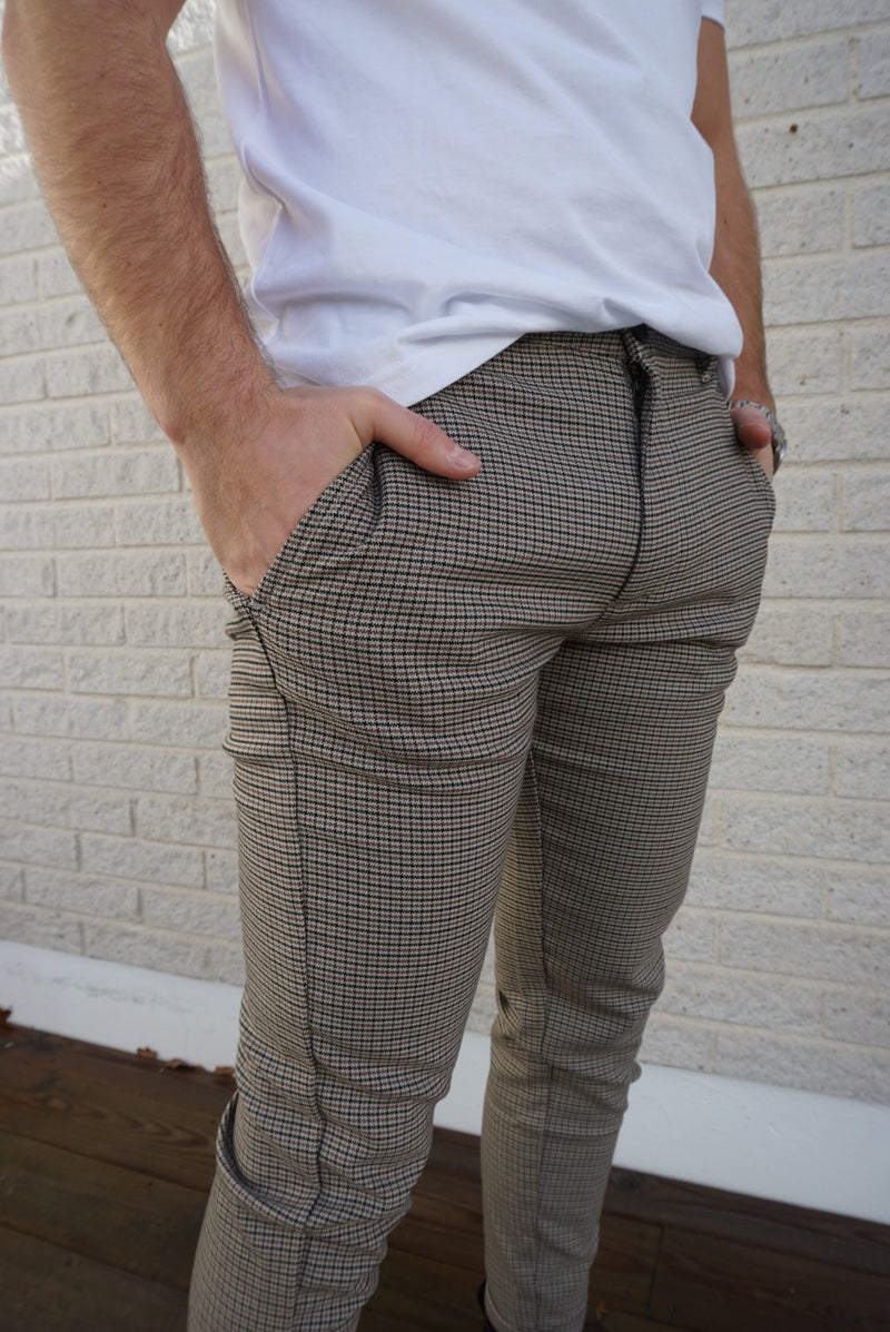 Pisa Beige Check Pant (Beige check)