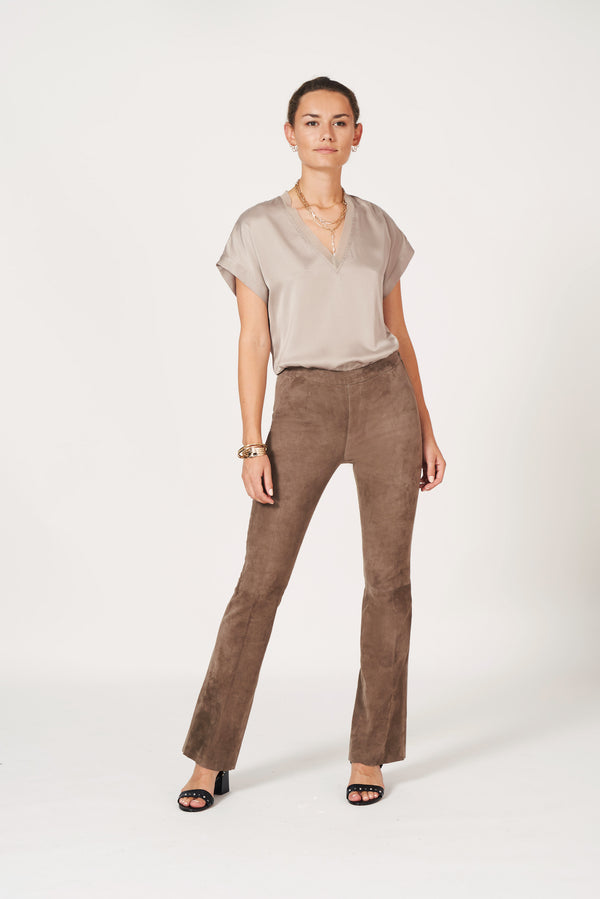 Odette stretch silk top (195 Warm Grey)