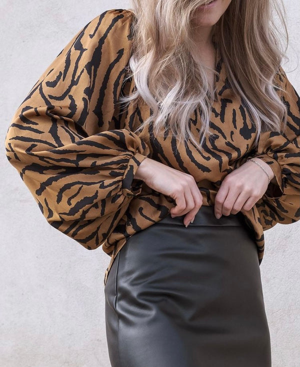 Solde Satin Zebra Blouse (210 BROWN)