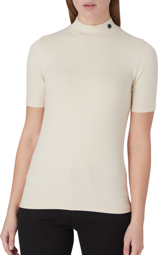 RIB SS MOCK NECK (AEO Soft Cream)