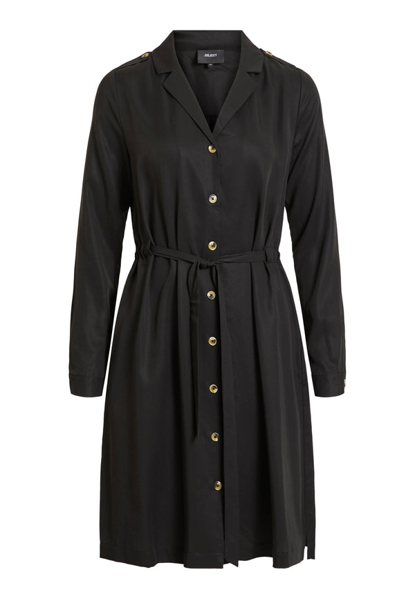 OBJTILDA L/S BUTTON DRESS NOOS (BLACK) - D.O. Design Only