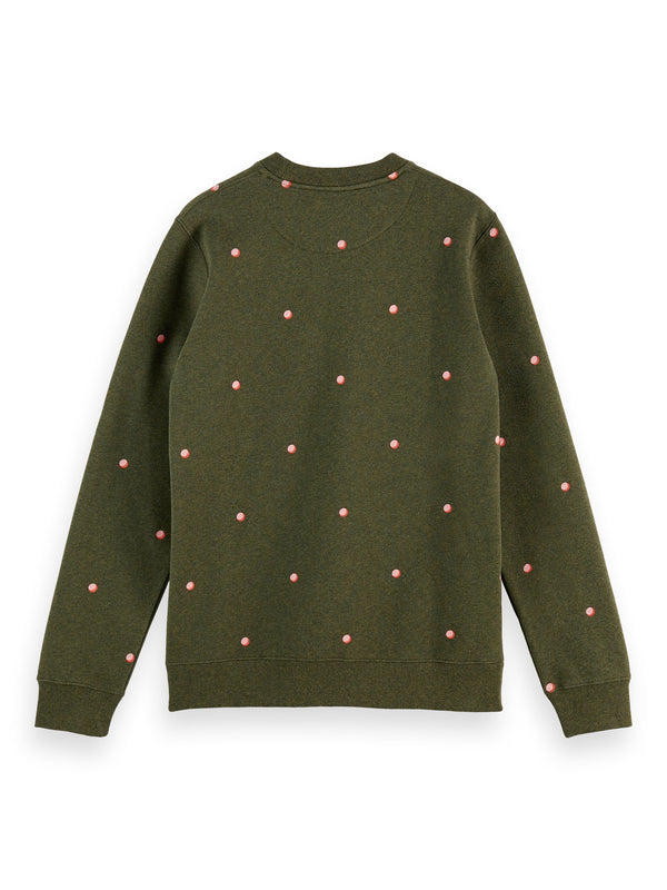 Crew neck sweat with small allover print (0218)