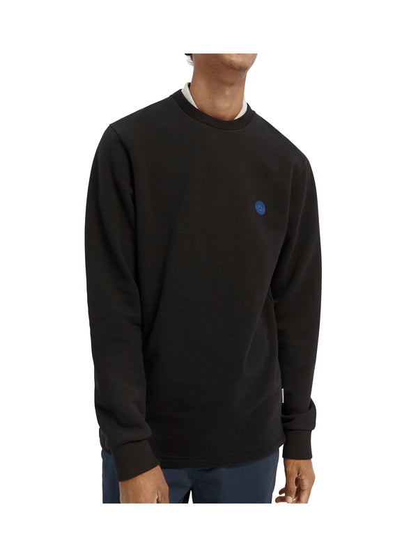 Crew neck sweat with tonal chest artwork (0008)