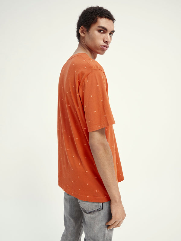Classic patterned cotton-jersey crewneck t-shirt (0217)