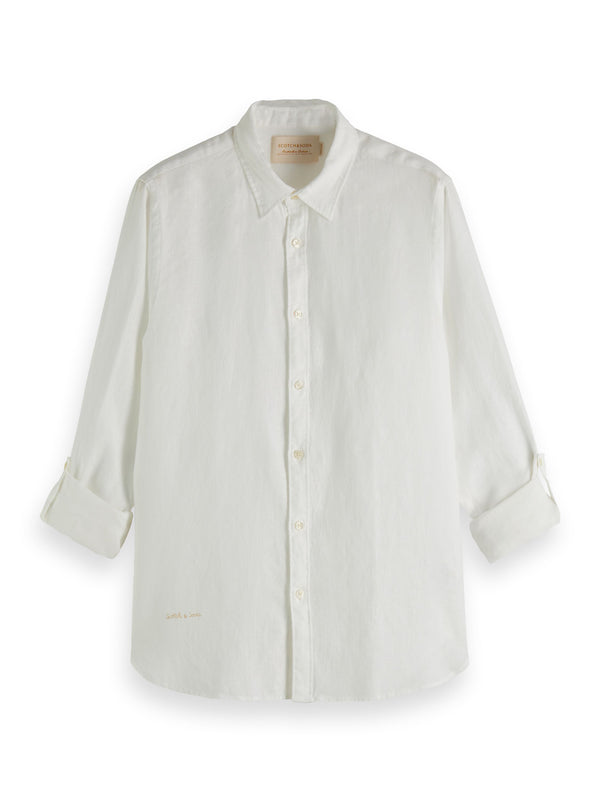 REGULAR FIT- Garment-dyed linen shirt with sleeve roll-up (0102)
